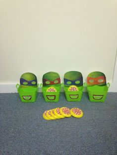 Ninja Turtle Pizza Toss - made from party masks, dollar store baskets and frisbees. It's a good reinforcement game for any goal in speech therapy (articulation, language, fluency, etc.). Pizzas can be tossed from any distance to increase the difficulty of the task