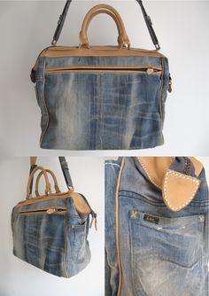 Сумка из джинсов.  Еще от Пинера muntkidy.exblog.jp.