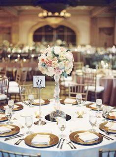 High Round Pink Wedding Centerpice