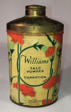 "Antique 4 3/4"" Tin WILLIAMS CARNATION Talc Powder #Williams"