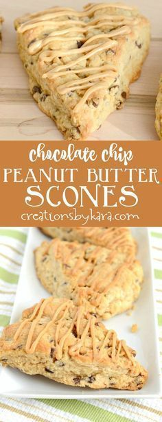 These chocolate chip peanut butter scones are so easy to make, and everyone loves them. A perfect scone recipe for peanut butter lovers! All the good things. Brunch Recipes, Sweet Recipes, Breakfast Recipes, Dessert Recipes, Peanut Butter Recipes, Chocolate Peanut Butter, Chocolate Chips, Peanut Butter Chips, Peanut Butter Drizzle Recipe