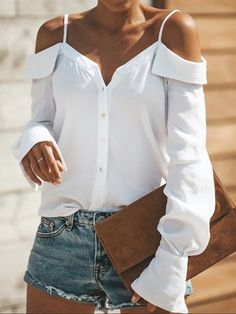 Button Down Shirt/Blouse. Summer Fashion Tops Blouse for Women Collars For Women, Blouses For Women, Ladies Blouses, Cheap Blouses, Ladies Tops, Vetement Hippie Chic, Sexy Bluse, Textiles Y Moda, Damen Sweatshirts