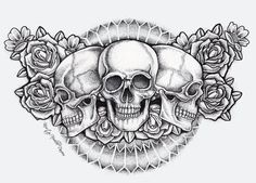 Dot Skull and Roses Chest Piece Tattoo (finished) by kirstynoelledavies.deviantart.com on @deviantART