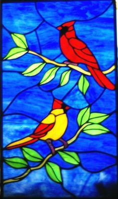 Panel de vidrio hecho a mano de un pájaro macho y por glassnwood