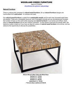 Woodland creek furniture. Log coffee table. Natural reclaimed wood.