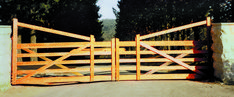 Double Manor Gates Timber Gates, Low Fence, Gate Design, Garden Bridge, Sustainability, Entrance, Outdoor Structures, Wood Gates, Entryway