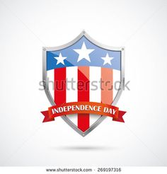 Independence day protection shield on the white background. Eps 10 vector file.