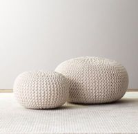 RH baby&child's Knit Cotton Pouf:Casual, soft-sided seating like our pouf is ideal in a child's room – the small scale fits little arms and legs beautifully and youngsters can move it all by themselves.  The round shape and soft, nubby texture add a pop of personality too.