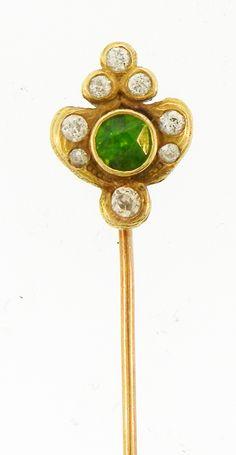 Marcus & Co. Tsavorite Garnet And Diamond Stick Pin
