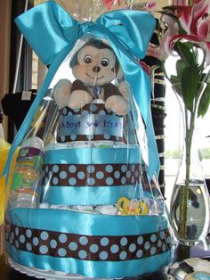 Baby BOY diaper cake by BabysBOWtique on Etsy, $75.00