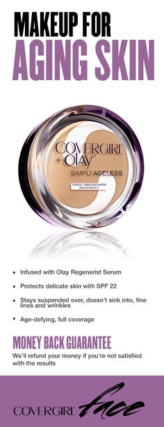 For the best results in anti aging makeup, look for formulas that don't sink into fine lines and wrinkles, like our Simply Ageless Foundation. Try it and love it…or get your money back! • Infused with Olay Regenerist Serum • Protects delicate skin with SPF 22 • Stays suspended over, doesn't sink into, fine lines and wrinkles • Age-defying, full coverage. Money Back Guarantee: We'll refund your money if you're not satisfied with the results