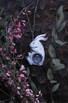 White Hare With Blue Cabochon Necklace Polymer Clay Bunny