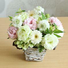 ガーベラとリシアンサス(桃)のメモリアルアレンジメント(お供え用) | 花・花束の通販|青山フラワーマーケット