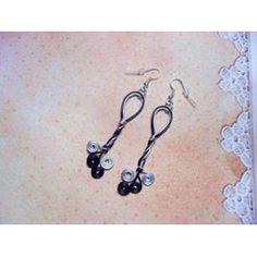 Boucles D'oreilles Longues Fil D'aluminium, Argenté Et Noir - 108-1