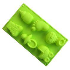 Molde em Silicone com 6 Cavidades Tema de Bebê para Preparo de Sabonetes, Chocolates