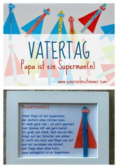 Father& Day Gift: Ultra Fast DIY: Dad is our superhea .- Vatertag Geschenk: Ultraschnelles DIY: Papa ist unser Superheld Father& Day Dad-Is-a-Superman Father& Day Gift: Ultrafast DIY: Dad is our Superhero - Diy Gifts For Christmas, Diy Father's Day Gifts, Father's Day Diy, Cute Gifts, Gifts For Dad, Diy École, Superman, Diy Image, Diy And Crafts