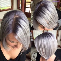 Silver Metallic with A Violet metallic shadow root! Transition To Gray Hair, Lavender Hair, Silver Blonde Hair, Icy Blonde, White Blonde, Platinum Blonde Hair, Hair Inspiration, Metallic Hair Color, Root Color