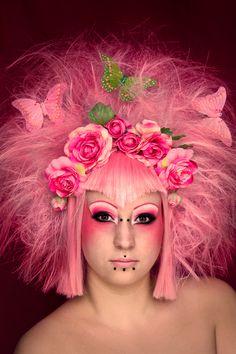 beautiful girl with flowers in hair | butterflies, flowers, hair, make up, piercing, pink - inspiring ...