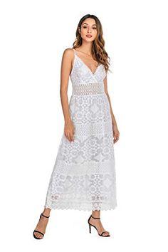 Everyday Dresses, Floral Lace, Spaghetti, White Dress, V Neck, Deep, Smile, Amazon, Fashion