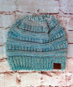 CC Beanie Hats in Teal mixed knit- plus 22 other colors to choose from! – Rose Gold Vintage