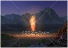The wilderness tabernacle made by Moses as seen at night, with the Pillar of Fire over the Sanctuary. Pillar Of Fire, Wilderness, Night, Movie Posters, Film Poster, Billboard, Film Posters