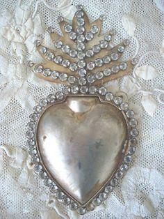 AWESOME HUGE 9 INCH JEWELED RHINESTONES EX VOTO SACRED HEART