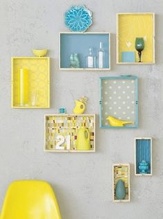 Shadow boxes with wallpaper background.