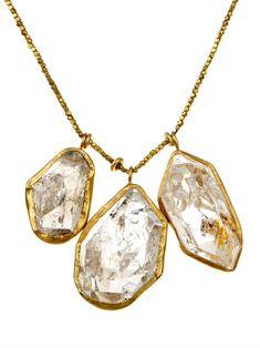 Pippa Small Herkimer diamond-quartz & gold necklace