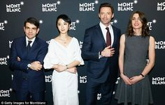 The watchmaker: Montblanc's CEO Jerome Lambert (left) looked rather diminutive next to his...