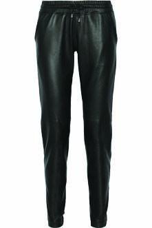 eab5edf3cc7b Black leather Elasticated drawstring waistband