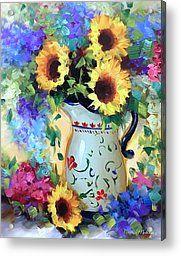 Nancy Medina Acrylic Prints - JeTaime Sunflowers Acrylic Print by Nancy Medina