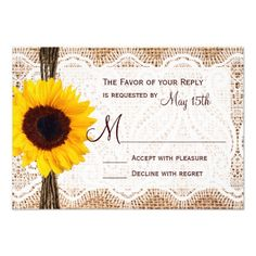 Lace Save the Date Wedding Rustic Burlap Lace Twine Sunflower Wedding RSVP Card