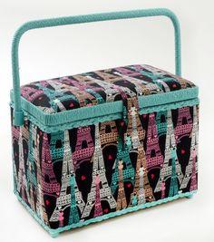 Sewing Basket-Medium Rectangle Eiffel Tower   Paris Fabric