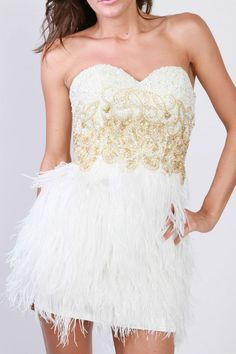 sherri hill white/gold crystals ostrich feather dress