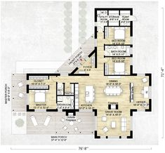 3 Bedroom Modern House Design Plan 69619Am 3 Bed Modern House Plan With Open Concept Layout
