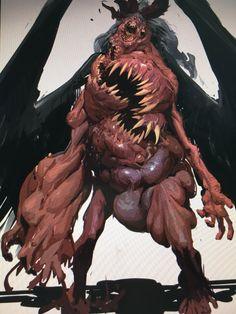 Fantasy Demon, Demon Art, Fantasy Monster, Dark Fantasy, Fantasy Art, Dark Creatures, Humanoid Creatures, Fantasy Creatures, Monster Concept Art