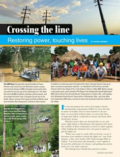 """""""Crossing the line: Restoring power, touching lives"""" - showing cooperation among cooperatives and concern for community - In GEORGIA Magazine - January 2014 - Page 18"""