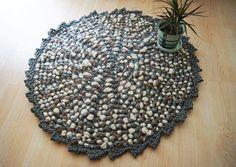 Handmade Grey Round Rug Crochet,doormat,pet mat, Spa Collection  #Nesrindesign #ShakerStili