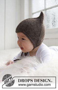 Vauvan ja lapsen neulottu myssy DROPS Alpaca-langasta.