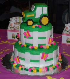 Girls Tractor Cake - tractor themed cake for 2 yr old bday party - chocolate cake with buttercream icing - tractor, fence, and butterflies made of fondant 2yr Old Birthday, 2nd Birthday Party For Girl, Girl Birthday Themes, Farm Birthday, Birthday Ideas, Tractor Birthday Cakes, Tractor Cakes, Old Macdonald Birthday, Construction Cakes