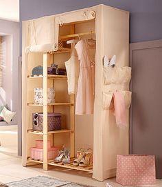 Home affaire Stoffschrank »Lili« für 99,99€. Aus massivem Holz, Mit 5 Ablageflächen, Praktischer Dielenschrank mit einer Kleiderstange bei OTTO
