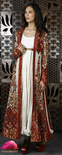 Ivory & Wine Net Long Jacket with Thread Embroidery by Rohit Bal