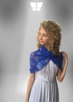 Royal Blue Infinity lace shawl  , shawl, bolero vest, hooded scarf