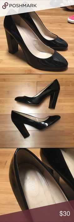 J. Crew Patent Leather Round Toe Chunky Heels, 9 Great used condition. The only visible wear is on the bottom. These are so versatile and I've loved them, just don't fit my post pregnancy feet. J. Crew Shoes Heels