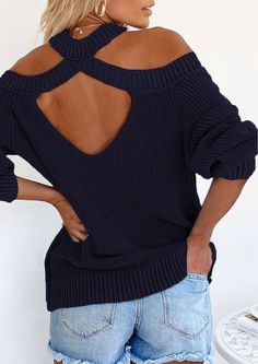 This sweater is made of soft knit fabric designed so stylish. The ribbed edges while a cooling breeze flows though this sweaters shoulder cut-outs. It is perfect relaxed sweater with trendy back cut-out to finish the look wearing it for skinny jeans for night out at the Menlyn Maine.