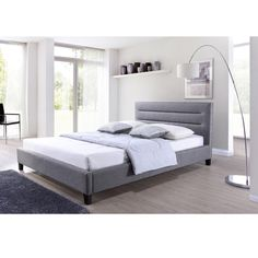 Ulmer Grey Fabric Upholstered Platform Bed - Overstock Shopping - Great Deals on Baxton Studio Beds