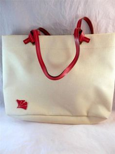 Large Canvas Tote Red Ginkgo Natural fiber perfect for a summer outing. #ladylindasloft