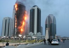 Grozny-City Towers on fire 2013
