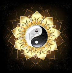 yin yang symbol: yin yang symbol , drawn in the middle of a lotus with golden petals on a black background Illustration