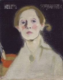Helene Schjerfbeck, Self-Portrait with Black Background, 1915, oil on canvas